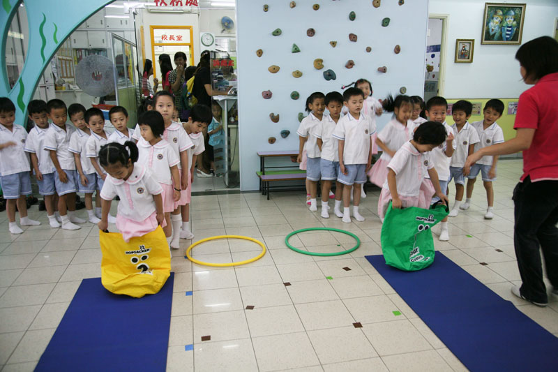 Children are playing jumping games